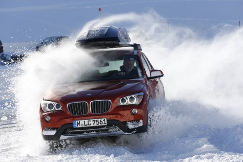 BMW X1 drifting snow 4WD