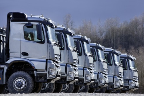 Mercedes Actros truck lined up large