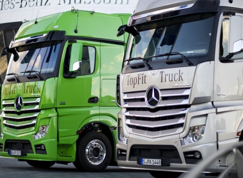 Daimler Mercedes trucks green silver