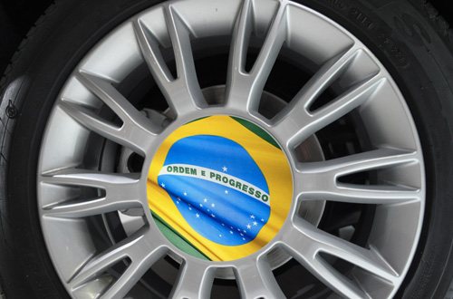 Brazil wheel centre flag 2014