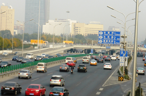 China traffic smog 2014 motorway