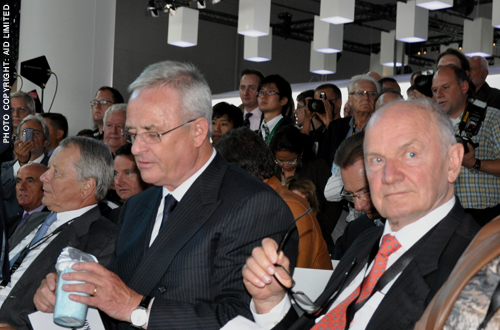 Martin Winterkorn Porsche and Piech sitting together Geneva Motor Show