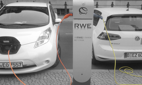 Electric cars on charge in Berlin Germany AID Newsletter